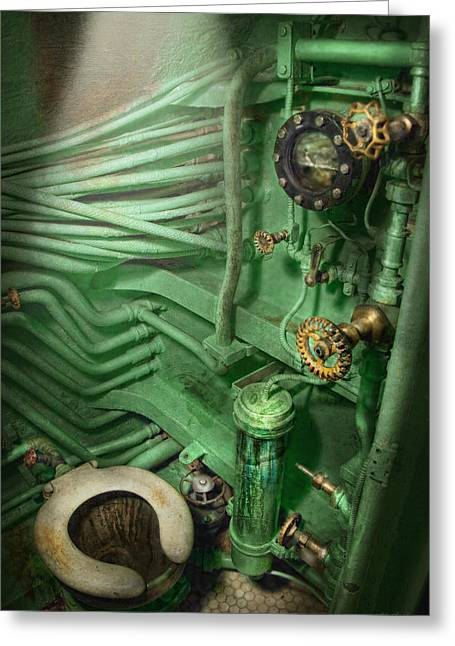 Cramped Greeting Cards - Steampunk - Naval - Plumbing - The head Greeting Card by Mike Savad