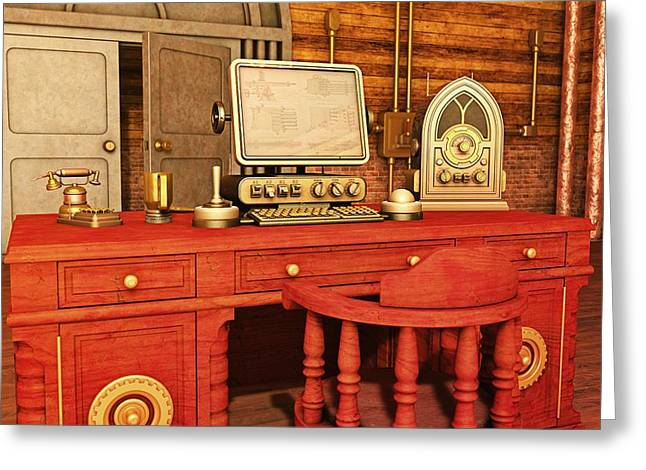 Screen Doors Digital Art Greeting Cards - Steampunk Office Greeting Card by Liam Liberty