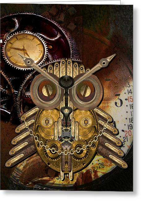Shannon Story Greeting Cards - Steampunk Owl Greeting Card by Shannon Story