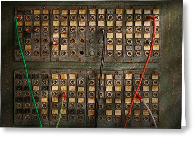 Manual Greeting Cards - Steampunk - Phones - The old switch board Greeting Card by Mike Savad