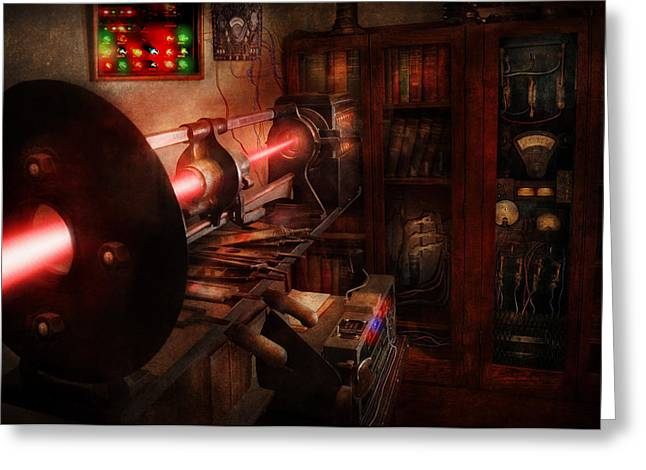 Recently Sold -  - Experiment Greeting Cards - Steampunk - Photonic Experimentation Greeting Card by Mike Savad
