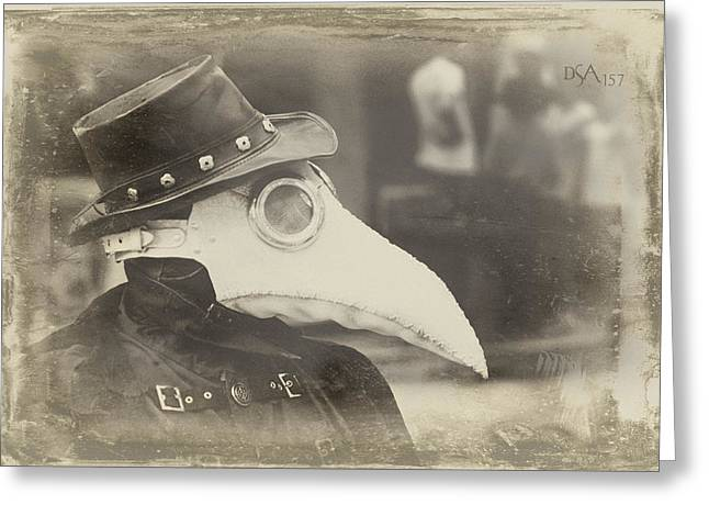 Steampunk Photographs Greeting Cards - Steampunk Plague Doctor Greeting Card by David April