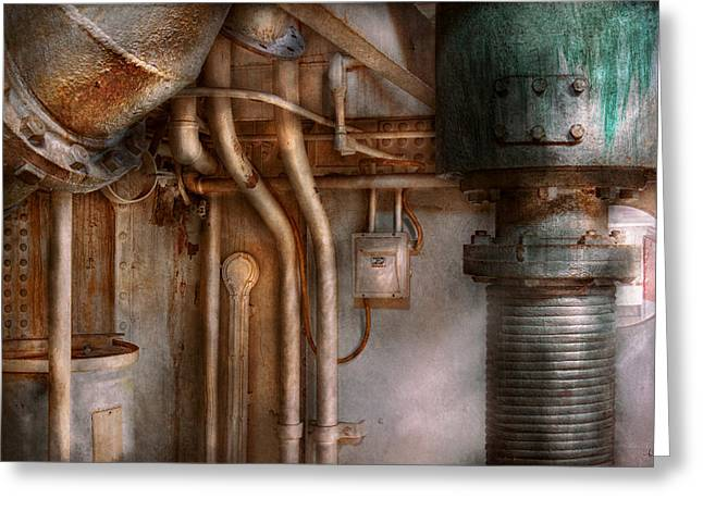 Steampunk - Plumbing - Industrial Abstract  Greeting Card by Mike Savad