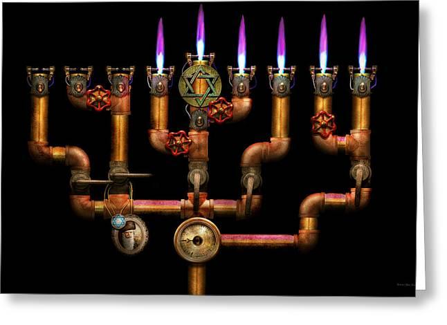 Menorah Greeting Cards - Steampunk - Plumbing - Lighting the Menorah Greeting Card by Mike Savad