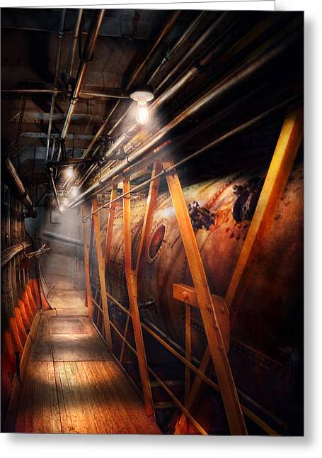 Plumber Greeting Cards - Steampunk - Plumbing - The hallway Greeting Card by Mike Savad