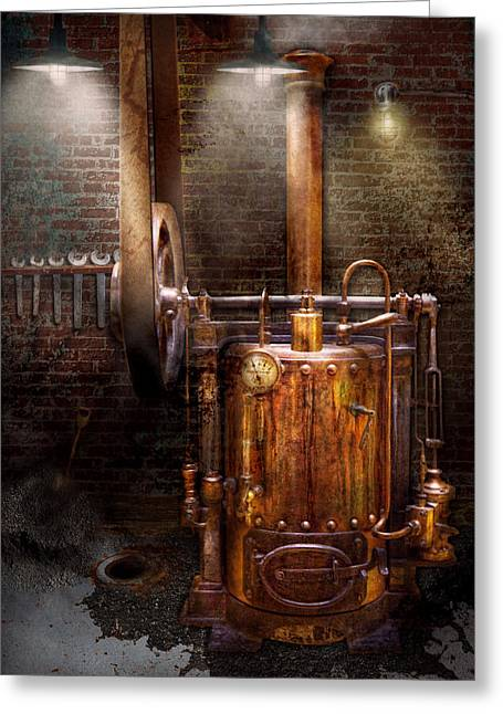 Cellar Greeting Cards - Steampunk - Powering the modern home Greeting Card by Mike Savad