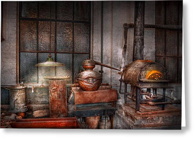 Bootleg Greeting Cards - Steampunk - Private distillery  Greeting Card by Mike Savad