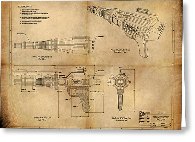 Gear Paintings Greeting Cards - Steampunk Raygun Greeting Card by James Christopher Hill
