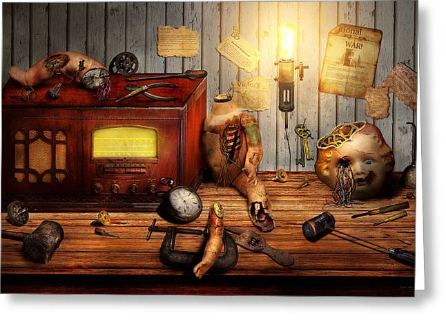 Creepy Digital Art Greeting Cards - Steampunk - Repairing a friendship Greeting Card by Mike Savad