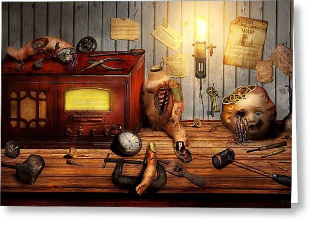 Dystopian Greeting Cards - Steampunk - Repairing a friendship Greeting Card by Mike Savad