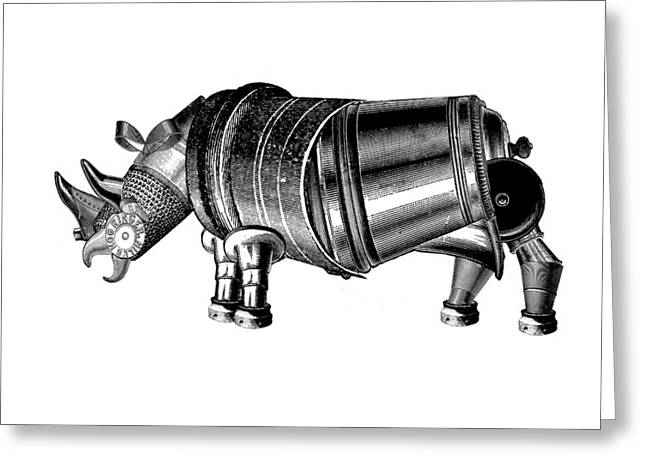Rhinoceros Mixed Media Greeting Cards - Steampunk Rhinoceros Greeting Card by Eric Edelman