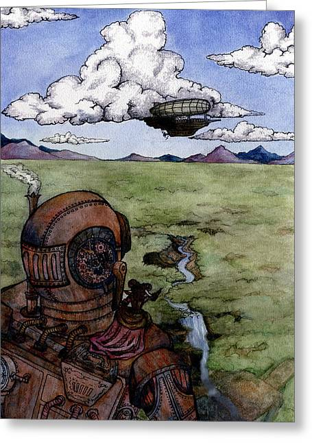 Giant Robot Greeting Cards - Steampunk Robot Greeting Card by Elizabeth Aubuchon