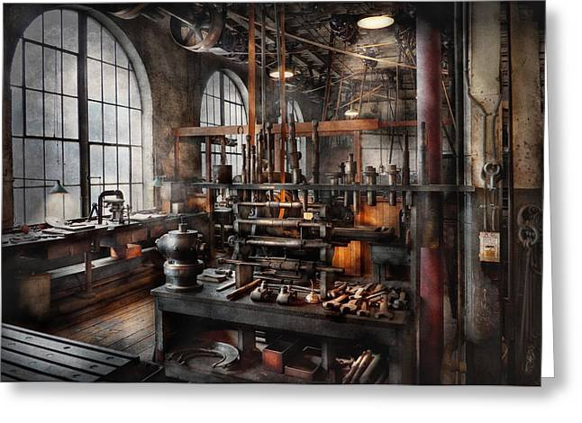 Best Sellers -  - Mechanism Photographs Greeting Cards - Steampunk - Room - Steampunk Studio Greeting Card by Mike Savad