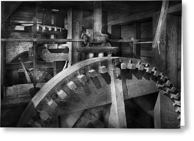 Old Mill Scenes Greeting Cards - Steampunk - Runs like clockwork Greeting Card by Mike Savad