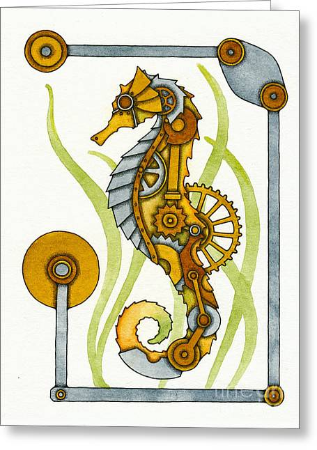 Nora Blansett Mixed Media Greeting Cards - Steampunk Seahorse Greeting Card by Nora Blansett