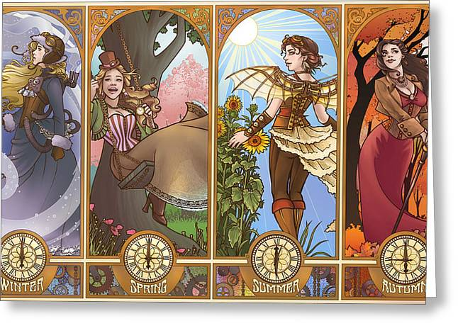 Crinoline Greeting Cards - Steampunk Seasons Greeting Card by Dani Kaulakis