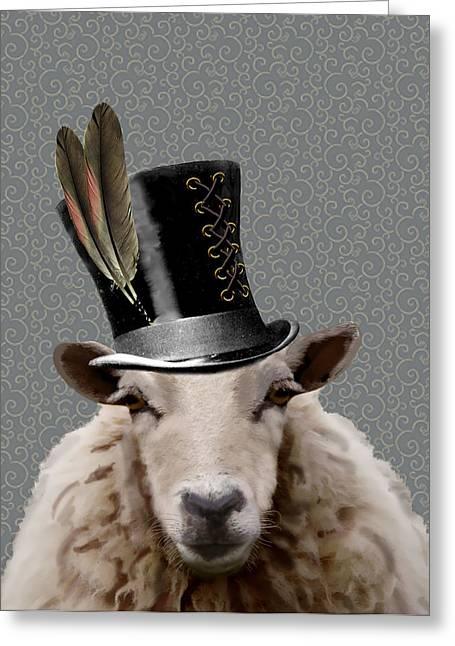 Hats Print Greeting Cards - Steampunk Sheep Greeting Card by Kelly McLaughlan