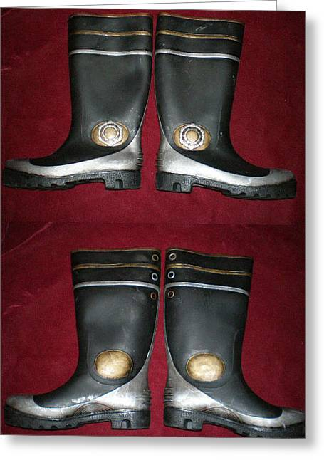 Boots Tapestries - Textiles Greeting Cards - Steampunk Sky Captains Boots Greeting Card by Steve Spagnola