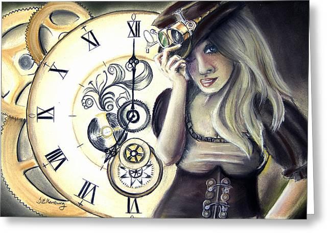 Clock Pastels Greeting Cards - Steampunk Sloane Greeting Card by Steve Ellenburg