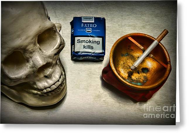 Inhaling Greeting Cards - Steampunk Smoking Break Greeting Card by Paul Ward