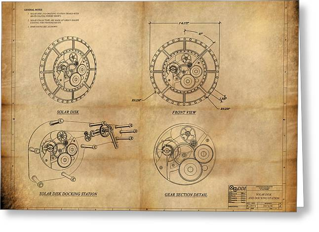 Steampunk Solar Disk Greeting Card by James Christopher Hill