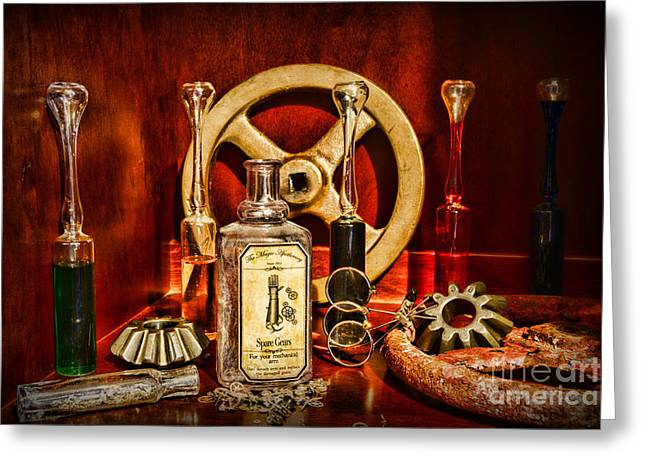 Mad Scientist Greeting Cards - Steampunk - Spare Gears - Mechanical Greeting Card by Paul Ward