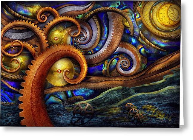Steampunk - Starry Night Greeting Card by Mike Savad