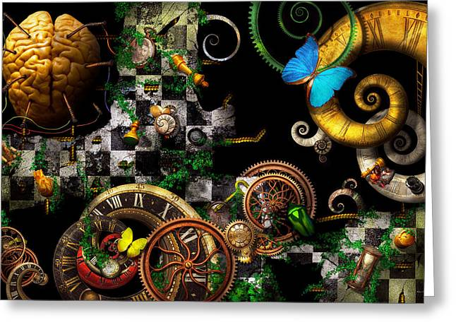 Steampunk - Surreal - Mind games Greeting Card by Mike Savad