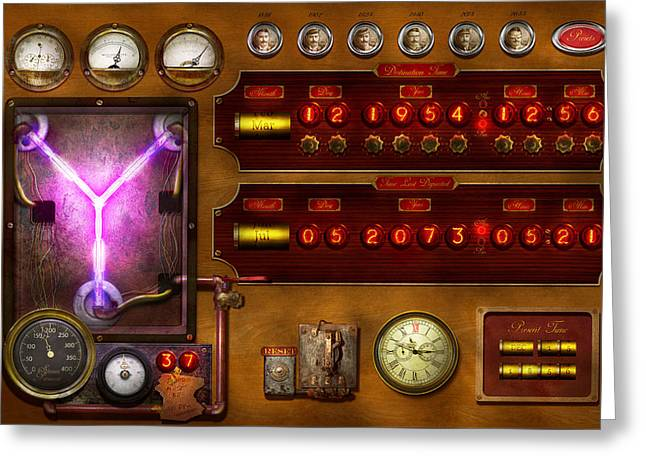 Steampunk - Temporal Flux Greeting Card by Mike Savad