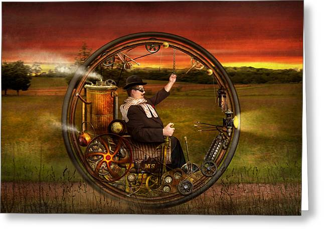 Quaint Digital Greeting Cards - Steampunk - The gentlemans monowheel Greeting Card by Mike Savad