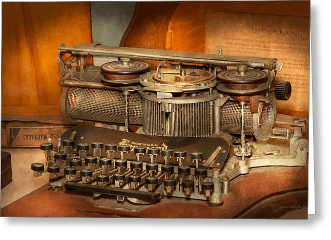 Typewriter Greeting Cards - Steampunk - The history of typing Greeting Card by Mike Savad
