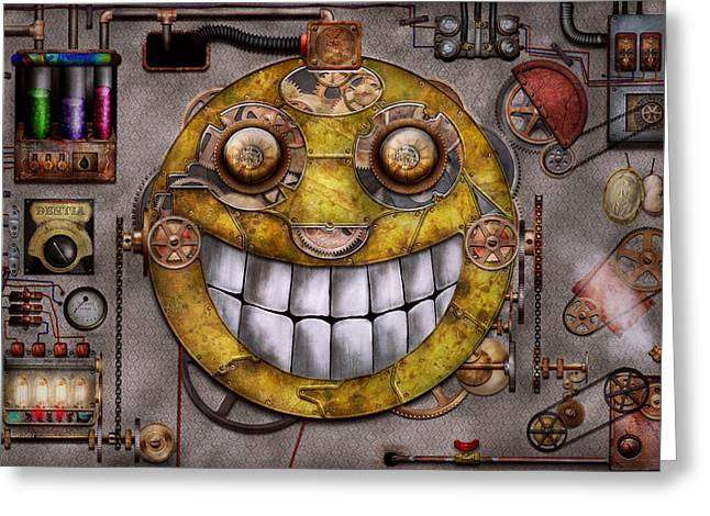 Mad Scientist Greeting Cards - Steampunk - The joy of technology Greeting Card by Mike Savad