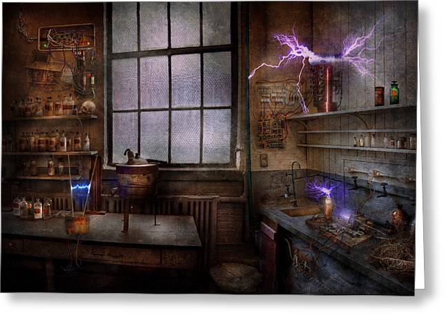 Steampunk - The Mad Scientist Greeting Card by Mike Savad
