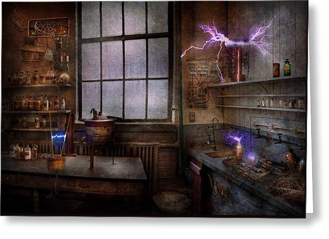 Customizable Photographs Greeting Cards - Steampunk - The Mad Scientist Greeting Card by Mike Savad