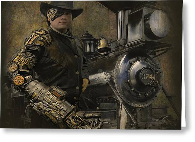 Pacific Northwest Digital Art Greeting Cards - SteamPunk - The Man 1 Greeting Card by Jeff Burgess