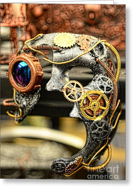 Steampunk - The Mask Greeting Card by Paul Ward