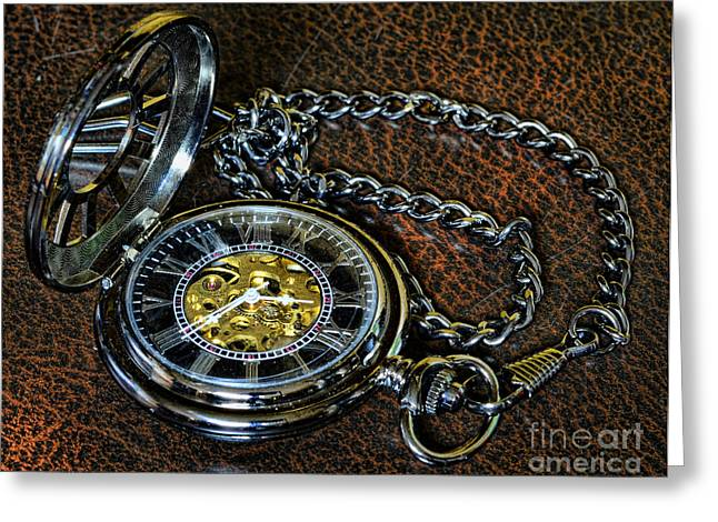Watch Fob Greeting Cards - Steampunk - The Pocketwatch Greeting Card by Paul Ward
