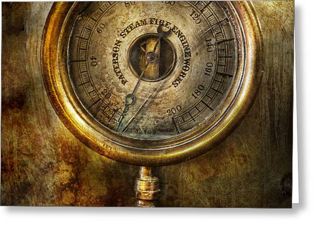 Steampunk - The pressure gauge Greeting Card by Mike Savad