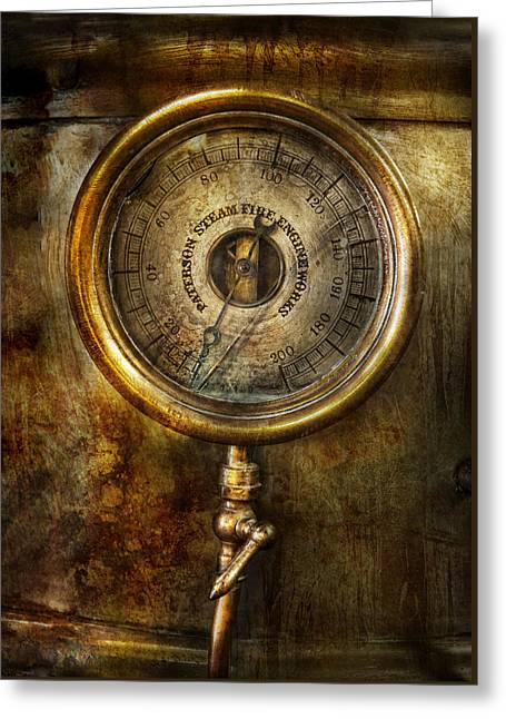 Best Sellers -  - Mechanism Photographs Greeting Cards - Steampunk - The pressure gauge Greeting Card by Mike Savad