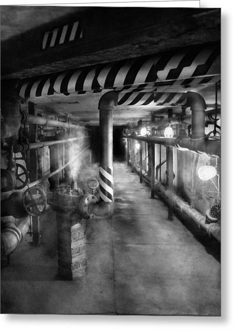 Basement Art Greeting Cards - Steampunk - The steam tunnel Greeting Card by Mike Savad