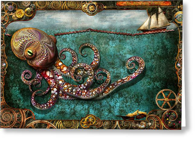 Sea Monster Mythology Greeting Cards - Steampunk - The tale of the Kraken Greeting Card by Mike Savad