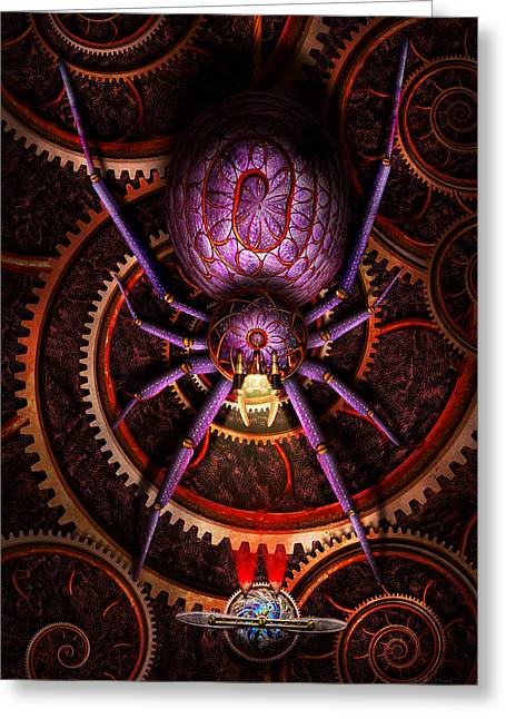 Creepy Digital Art Greeting Cards - Steampunk - The webs we weave Greeting Card by Mike Savad