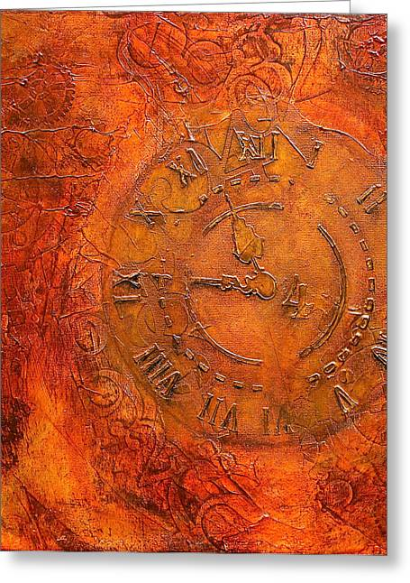 Industrial Concept Mixed Media Greeting Cards - Steampunk Time Greeting Card by Bellesouth Studio