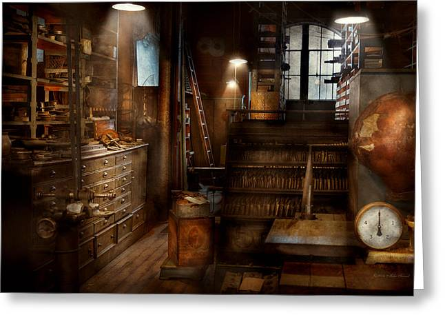 Science Greeting Cards - Steampunk - Tool room of a mad man Greeting Card by Mike Savad