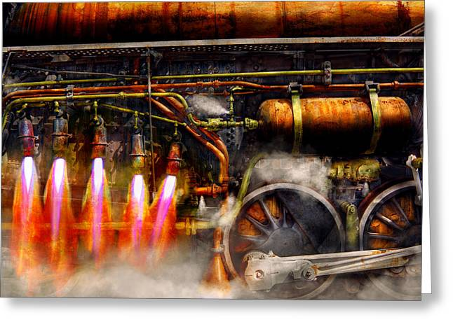 Steampunk - Train - The Super Express  Greeting Card by Mike Savad