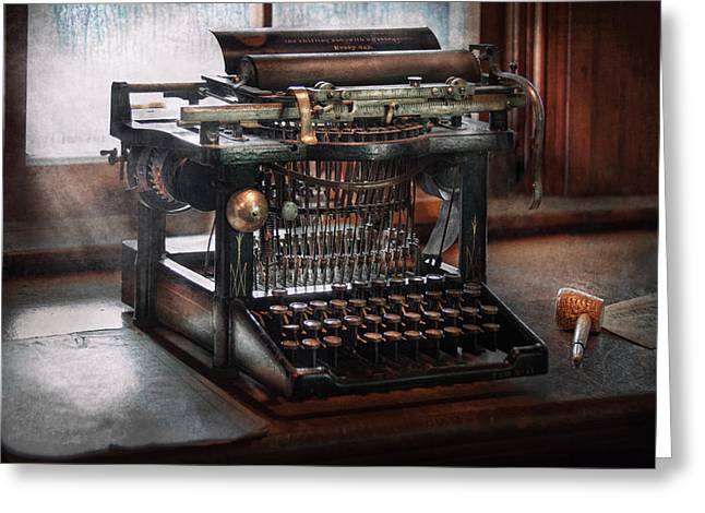 Steampunk - Typewriter - A really old typewriter  Greeting Card by Mike Savad