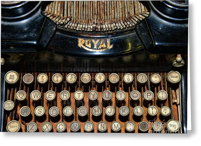 Typewriter Keys Photographs Greeting Cards - Steampunk - Typewriter -The Royal Greeting Card by Paul Ward