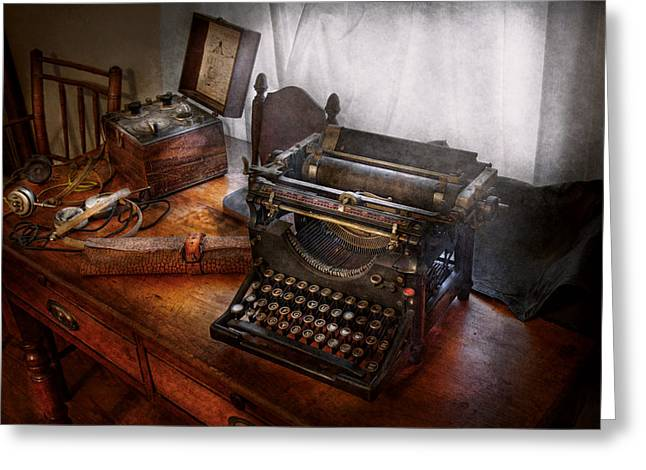 Typewriter Greeting Cards - Steampunk - Typewriter - The secret messenger  Greeting Card by Mike Savad