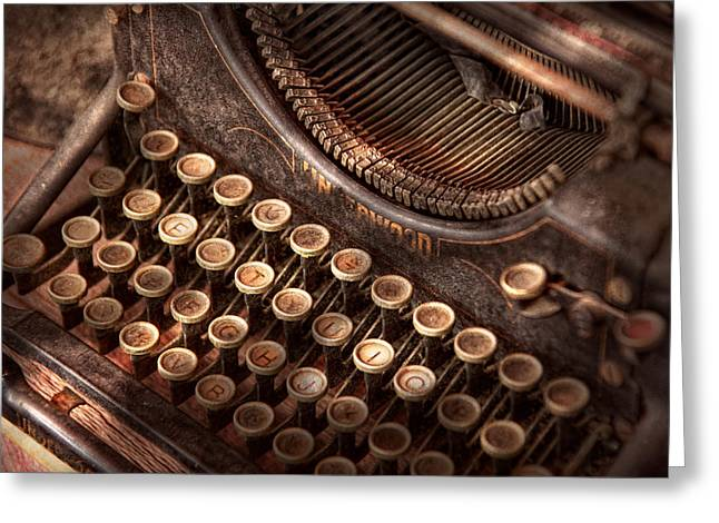 Typewriter Keys Photographs Greeting Cards - Steampunk - Typewriter - Too tuckered to type Greeting Card by Mike Savad