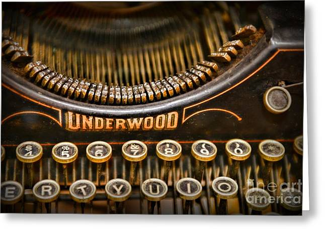 Typewriter Keys Photographs Greeting Cards - Steampunk - Typewriter - Underwood Greeting Card by Paul Ward